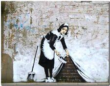 "BANKSY STREET ART *FRAMED* CANVAS PRINT Maid sweeping keep it spotless 24x16"""