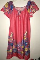 Vtg Muu Muu House Dress Sz Small/medium Pink Polka Dot Floral Retro Polyester