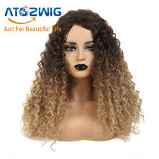 Synthetic Long Afro Curly Wig Mix Blonde Color Wig Women Fashion Wig Fashion New