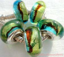 5PCS silver hallmarked Single Core Murano Glass Beads fit Charms Bracelet AOC078
