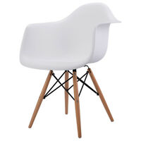 1 PC Mid Century Modern Molded Plastic Dining Arm Side Chair Wood Legs White New