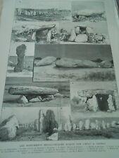 Gravure 1888 - Les Monuments mégalithiques acquis par l'état à Carnac