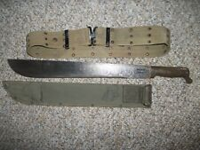 WWII US Army True Temper Machete Knife w Scabbard & Belt Dated 1945