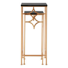 Premier Lexa Plant / End / Accent Tables, Set of 2, Rose Gold & Black, Stackable