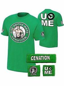 John Cena Boys Green Salute Cenation Kids WWE Costume T-shirt Wristbands
