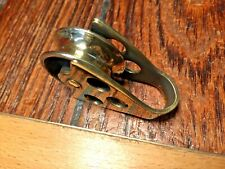 "VINTAGE BRONZE/BRASS OPEN CLAM SHELL BLOCK 1 1/8"" SHEAVE, 5/16"" LINE (2 AVAIL)"