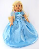 "Cinderella Princess Blue Halloween Dress Gown For 18"" American Girl Doll"