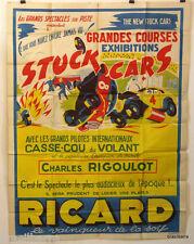 AFFICHE PUB : COURSES STOCK CARS (RICARD) 1954