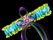 Satin Multi Color APPLE Green PURPLE and TURQUOISE Wedding Bridal Prom GARTER