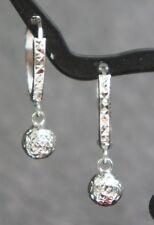 18k Solid White Gold Cute Kids Hoop Ball Dangle Earrings Diamond Cut Design.