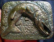 SALE RARE 1975 Signed LeBlanc Musky Belt Buckle Bogo Tie Federal Duck Stamp Chic