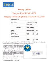 Sammy Collins Torquay United 1948-1958 RARE ORIG main signé découpe / carte bonne
