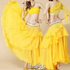 Chiffon Dancing Costume Belly Dance Spiral Long Skirt 3 layers  9 Colors 1/2