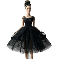 Short Skirt Black Party Dress for Barbie Dolls Clothes Gown X-mas Gift Toys