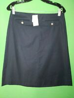2931) NWT J CREW 6 navy blue straight skirt cotton knee length new 6