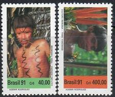 BRAZIL 1991 SO.AMERICAN INDIANS MNH  CV$5.50 COSTUMES