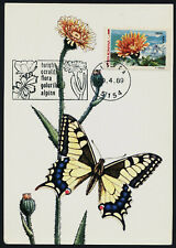 Romania 3465h on Maxi Card - Flower, Butterfly