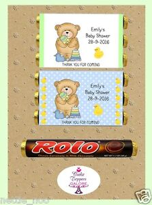 PERSONALISED BABY SHOWER CHOCOLATE WRAPPERS FITS ROLOS OR SIMILAR SIZE ROLLS