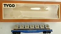HO scale Tyco  Western Union 50' Flat Car With Cable Reel load  vintage