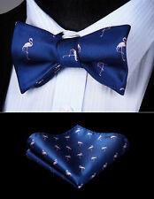 Men Woven Self Bow Tie Blue Pink Flamingos Animal Pocket Square Set#BGA09VS