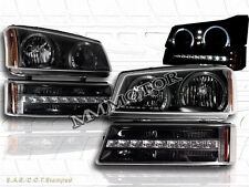 03-06 Chevy Silverado/Avalanche LED Black Headlights+Bumper Lights Twin Halo