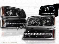 03-06 Chevy Silverado/Avalanche LED Black Headlights+Bumper Lights Twin Halo