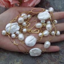 "H052605  21"" White Keshi Pearl Pendant Necklace"