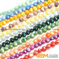 """6-7mm Freeform Freshwater Pearl Stone Beads For Jewelry Making Strand 13"""" YB"""
