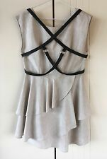 Womens Cameo The Label Beige Layered With Black Leather Harness Dress Size 12