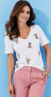 Kaleidoscope White Floral T-shirt Cotton New Summer Holiday Size 12