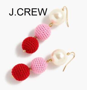 J.CREW crochet bead pearl drop earring ball dangle pink red gold fun unique gift