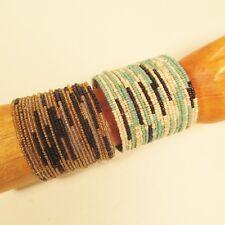 Set of 2 Wide Color Block Tribal Boho Cuff Handmade Bracelets Bali Seed Bead