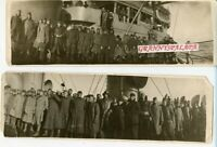 5 Vintage Panoramic Photos-Group Of US Soldiers In Uniform On Ship-WWI-WW 1