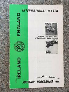 1964 - REPUBLIC OF IRELAND v ENGLAND PROGRAMME - FRIENDLY - 63/64