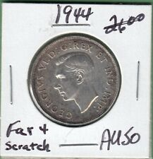 1944 Canadian 50 Cents Silver Coin - Far 4 - AU-50 (scratched)