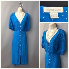 Monsoon Blue Spotted Polka Plunge Neck Dress UK 22 EUR 50 US 18