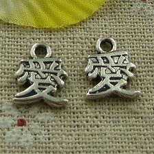 free ship 220 pieces tibetan silver love charms 13x10mm #3618