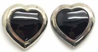 Vintage Oxidized Sterling Silver Puffy Heart Black Onyx Statement Hook Earrings