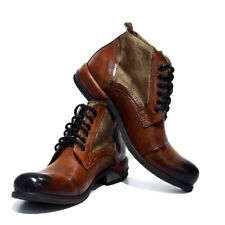 Handmade Italian Men Ankle Boots -  Hand Painted Brown Leather