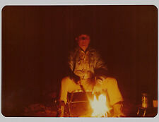 Vintage 80s PHOTO Man Sitting At & Lit Up By Campfire Light
