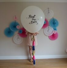 """Best Day Ever Printed Set of 2 White HUGE 36"""" inch Balloon oval Latex Wedding"""
