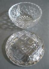 Vintage cut glass lidded trinket box diamond pattern-dressing table