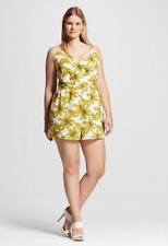 NEW Women's Plus Size Renn Sleeveless Floral Print Romper White Yellow size 2X