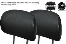 WHITE STITCH 2X FRONT HEADREST LEATHER SKIN COVER FITS BMW X5 E53 2000-2006