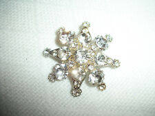 Estate Vintage Crystal Rhinetone Brooch Pin Star Design Silver Plated Pre-Owned