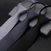 Men's Lazy Zip Necktie Business Wedding Party Slim Zip Up Neck Ties Multicolor