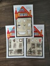 Miniature 1:48 Dollhouse Furniture~Lot of 3 Sets~ Kitchen Bathroom Living room