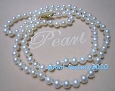 """round 18"""" AAA 6-5 MM SOUTH SEA NATURAL White PEARL NECKLACE 14K GOLD  CLASP"""