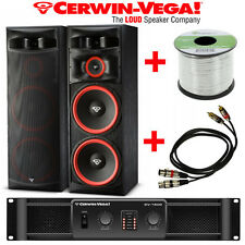 "Pair Cerwin Vega XLS-215 15"" 3 Way Speakers + CV-1800 Amp + 50' 14G + XLR to RCA"