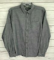Eddie Bauer Shirt Mens XL Gray Solid Button Long Sleeve Classic Fit Collared